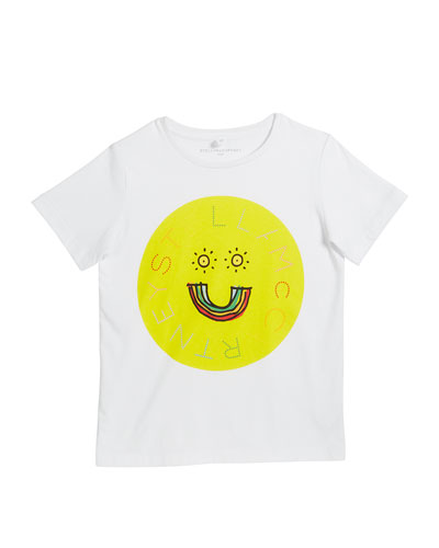 Kid's Logo Rainbow Smiley Face Graphic Tee  Size 4-14