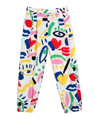Kid Girl's Graphic Print Pleated Baggy Pants  Size 4-14