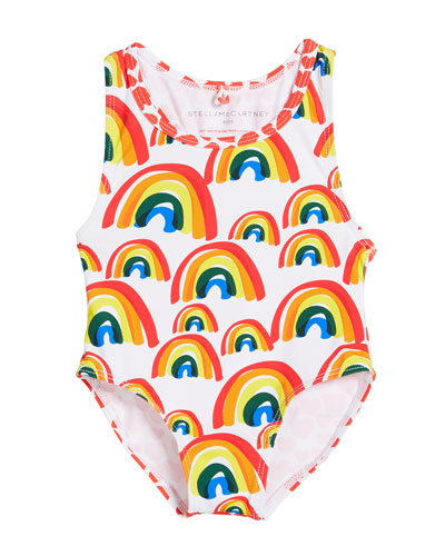 Girl's Rainbow & Hearts One-Piece Swimsuit  Size 12-36 Months