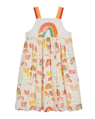 Girl's Painted Rainbow Sleeveless Cotton Dress  Size 4-14