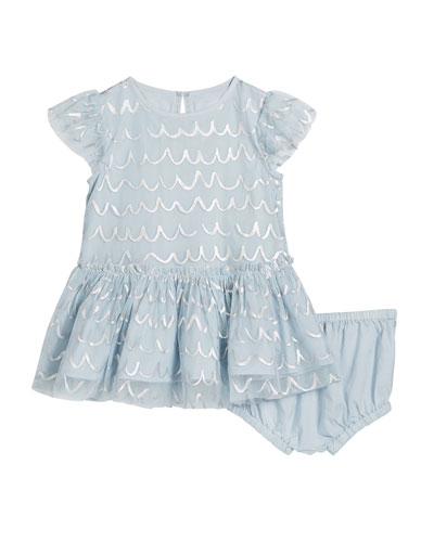 Girl's Shell Foil Short-Sleeve Tulle Dress w/ Bloomers  Size 12-36 Months