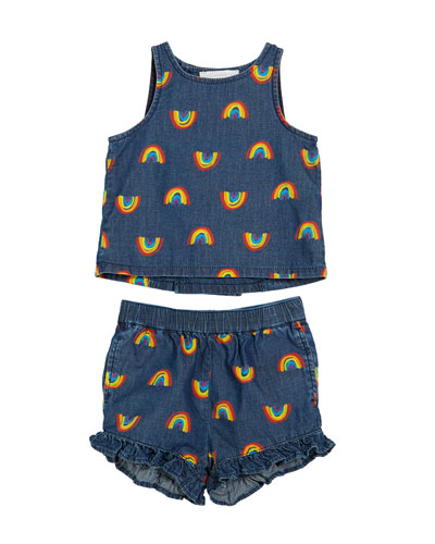 Baby Girl's Rainbow Chambray Tank & Short Set  Size 12-36 Months