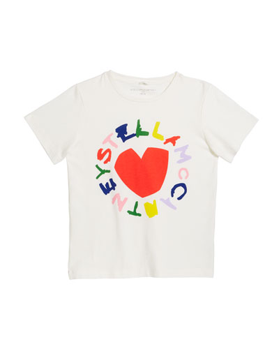 Girl's Heart Logo Short-Sleeve Tee  Size 4-14