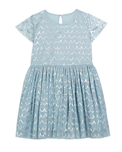 Girl's Shell Foil Short-Sleeve Tulle Dress  Size 4-14