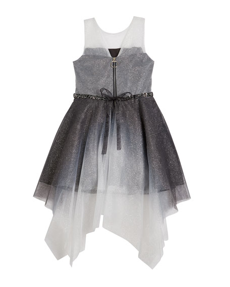 Girl's Suzy Ombre Shimmer Mesh Dress, Size 7-16