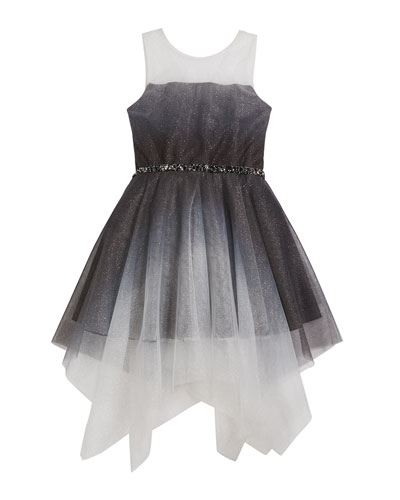 Girl's Suzy Ombre Shimmer Mesh Dress  Size 7-16