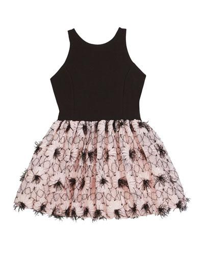 Girl's Daisy Textured Bubble Halter Dress  Size 7-16