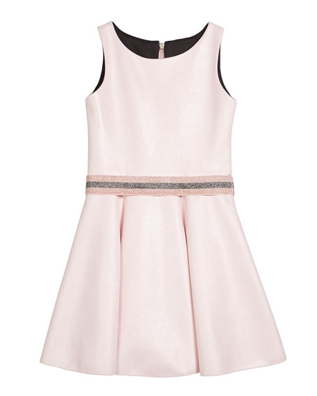 Girl's Beth Metallic Faux Suede Belted Skater Dress, Size 7-16