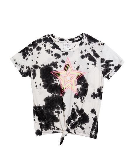 Girl's Tie Dye Neon Star Tee, Size S-XL