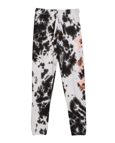 Girl's Tie Dye Sweatpants w/ Neon Stars  Size S-XL