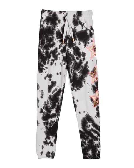 Girl's Tie Dye Sweatpants w/ Neon Stars, Size S-XL