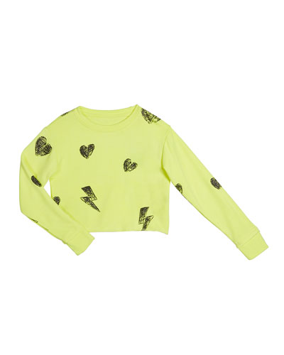 Girl's Heart And Bolt Long-Sleeve Sweatshirt  Size S-XL