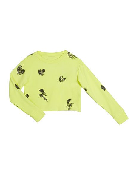 Girl's Heart And Bolt Long-Sleeve Sweatshirt, Size S-XL