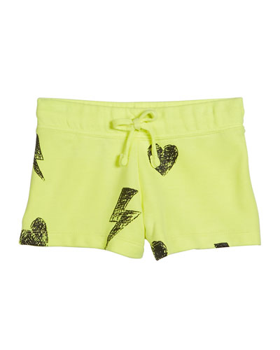 Girl's Heart And Bolt Drawstring Shorts  Size S-XL