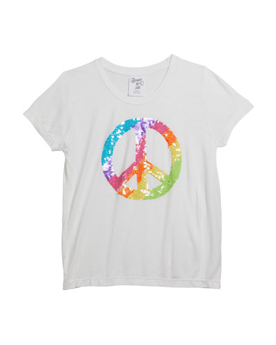 Girl's Short-Sleeve Peace Sign Tee  Size S-XL