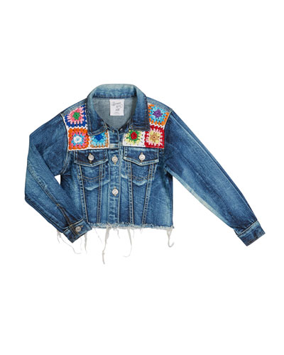 Girl's Crochet Trim Denim Jacket, Size S-XL