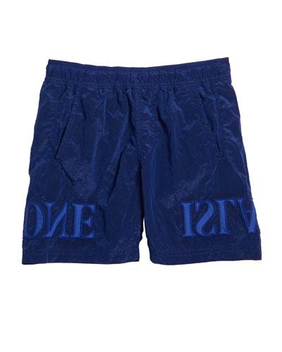 Boy's Nylon Pull-On Shorts w/ Backwards Logo Applique  Size 2-4
