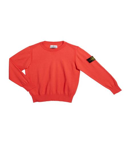 Boy's Crewneck Sweater with Logo Arm Tab, Size 6-8