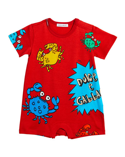 Boy's Crabs & Comic Graphic Jersey Shortall  Size 6-24 Months