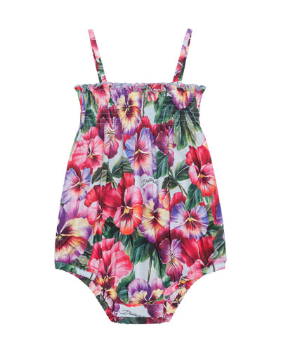 Girl's Pansy Print Shirred Sun Romper, Size 6-24 Months