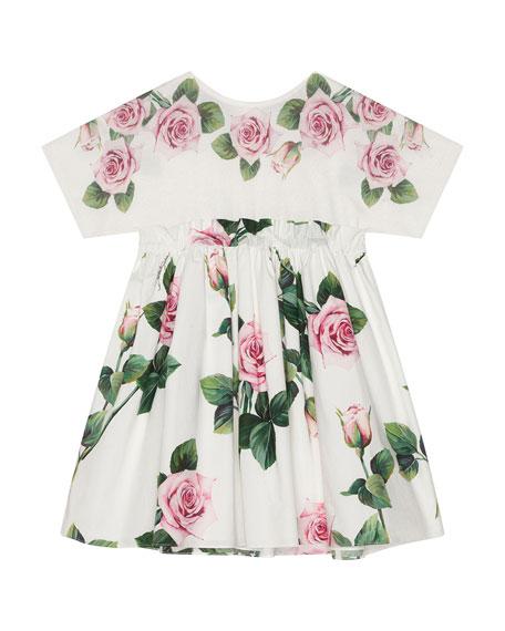 Girl's Rose Print Combo Knit Top Dress, Size 4-6