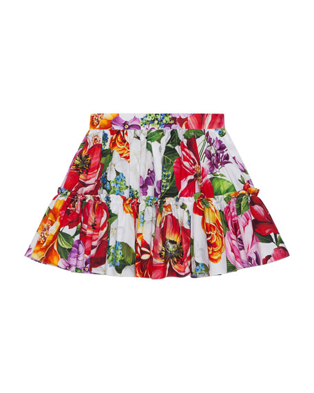 Girl's Blooming Floral Print Tiered Skirt, Size 4-6