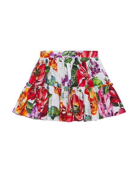 Girl's Blooming Floral Print Tiered Skirt, Size 8-12