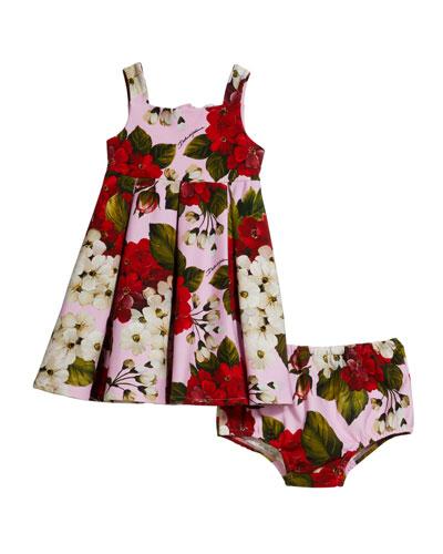 Blooming Geranium-Print Dress w/ Matching Bloomers  Size 12-30 Months