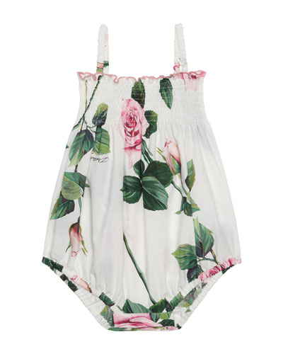 Girl's Tropical Rose Print Shirred Romper, Size 6-24 Months