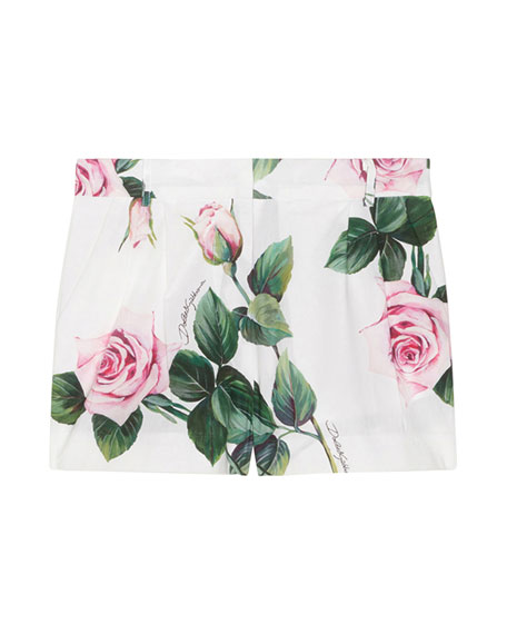 Girl's Rose Print Shorts, Size 8-12