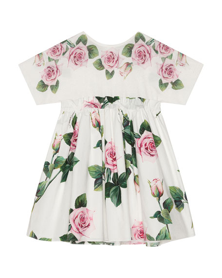 Image 1 of 1: Girl's Rose Print Combo Knit Top Dress, Size 8-12