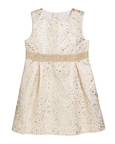 Girl's Abrianna Metallic Jacquard Dress  Size 2-14