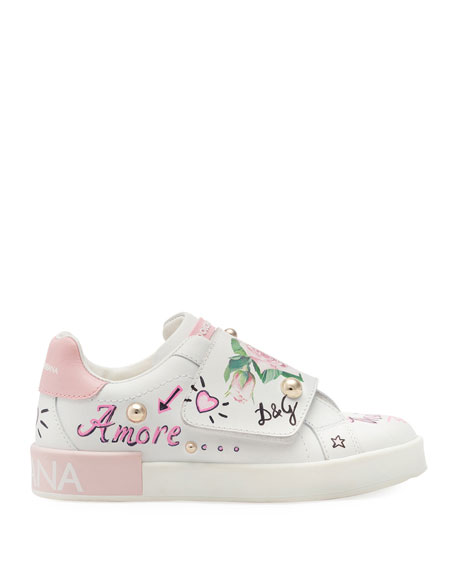 Floral Print Grip-Strap Leather Sneakers, Kids