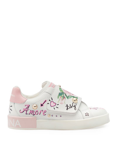 Floral Print Grip-Strap Leather Sneakers  Toddler