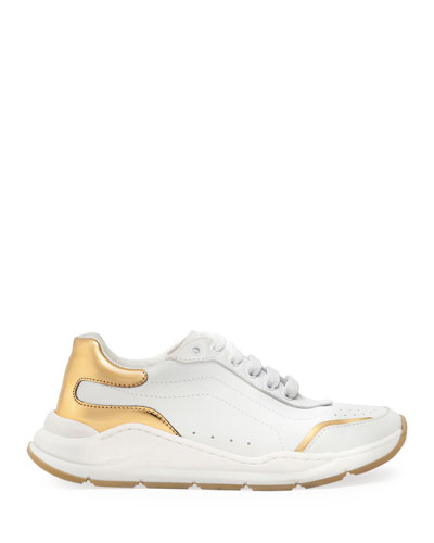 Day Master Gold Trim Lace-Up Leather Sneakers, Kids