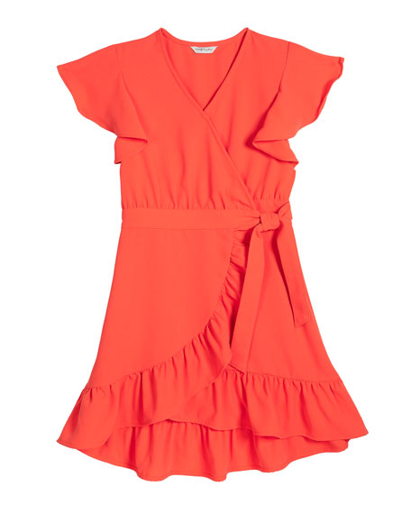Girl's Flutter-Sleeve Ruffle Wrap Dress, Size 7-14