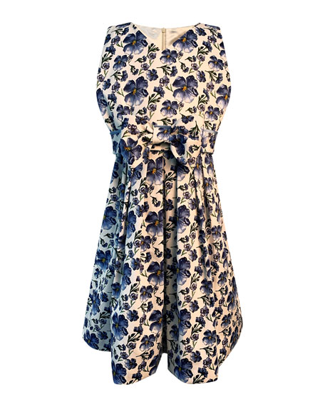 Image 1 of 1: Girl's Floral Print Sleeveless Dress with Bow, Size 7-14