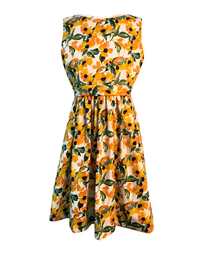 Girl's Floral Print Sleeveless Dress  Size 7-14