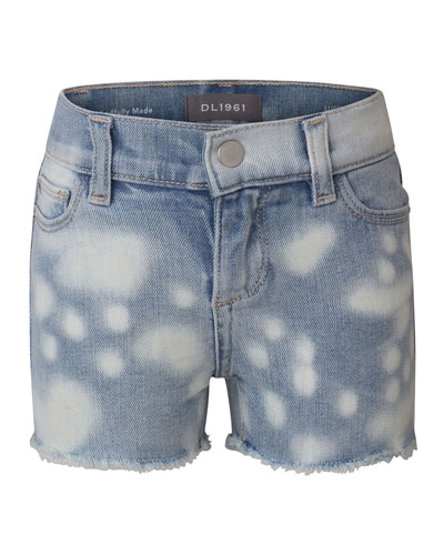Girl's Lucy Bleached Cut-Off Denim Shorts  Size 7-16