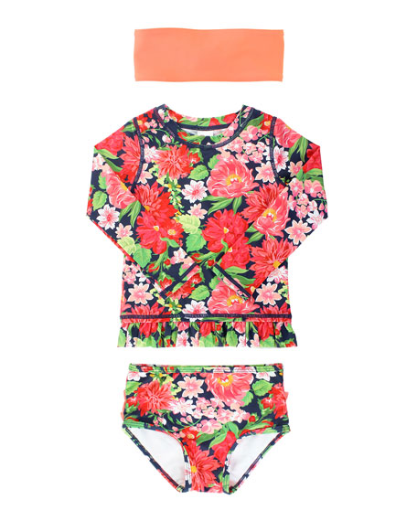 Girl's Floral Rash Guard Bikini w/ Headband, Size 3M-10