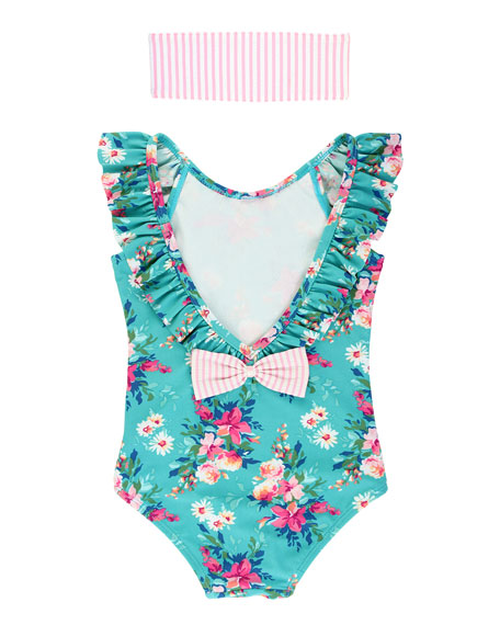 Girl's Floral Ruffle One-Piece Swimsuit w/ Headband, Size 3M-10