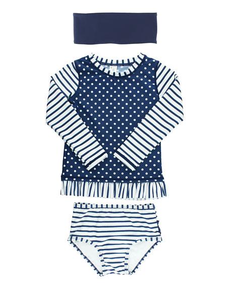 Girl's Polka Dot Striped Rash Guard Bikini w/ Headband, Size 3M-10