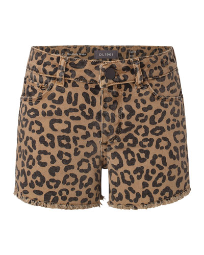 Girl's Lucy Cut-Off Leopard-Print Denim Shorts, Size 7-16