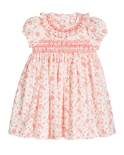 Girl's Coral Floral-Print Smocked Dress, Size 12-24 Months