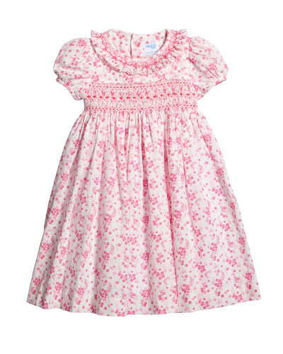 Coral Floral-Print Smocked Dress  Size 4T-3