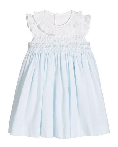 Girl's Blue/White Smocked Dress  Size 3-18 Months