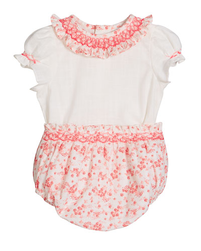 Girl's Coral Floral-Print Smocked Top w/ Bloomers  Size 3-9 Months