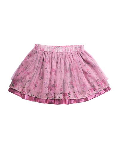 Girl's Heidi Chiffon-Mesh Mix Tiered Skirt  Size 7-14