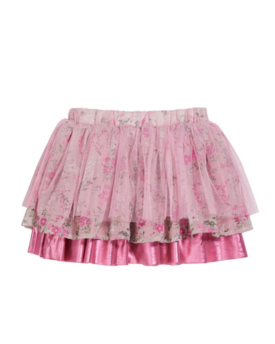 Girl's Heidi Chiffon-Mesh Mix Tiered Skirt  Size 2-6