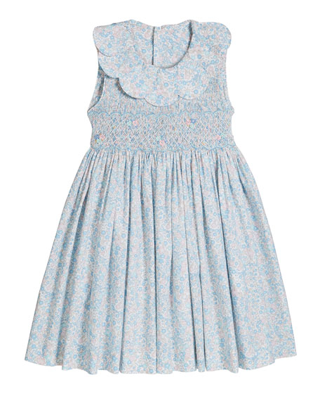 Girl's Floral Print Petal Collar Smocked Dress, Size 2-4T